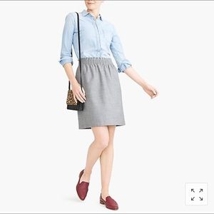 {J.Crew} cinched waist grey skirt
